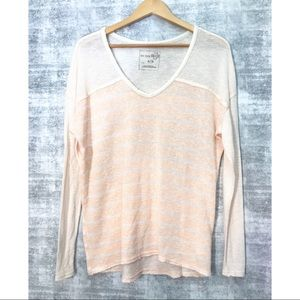 FREE PEOPLE salmon/ivory striped long sleeve tee M
